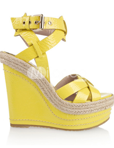 Yellow Buckle Open Toe Sheepskin Wedge Heel Womens Espadrilles