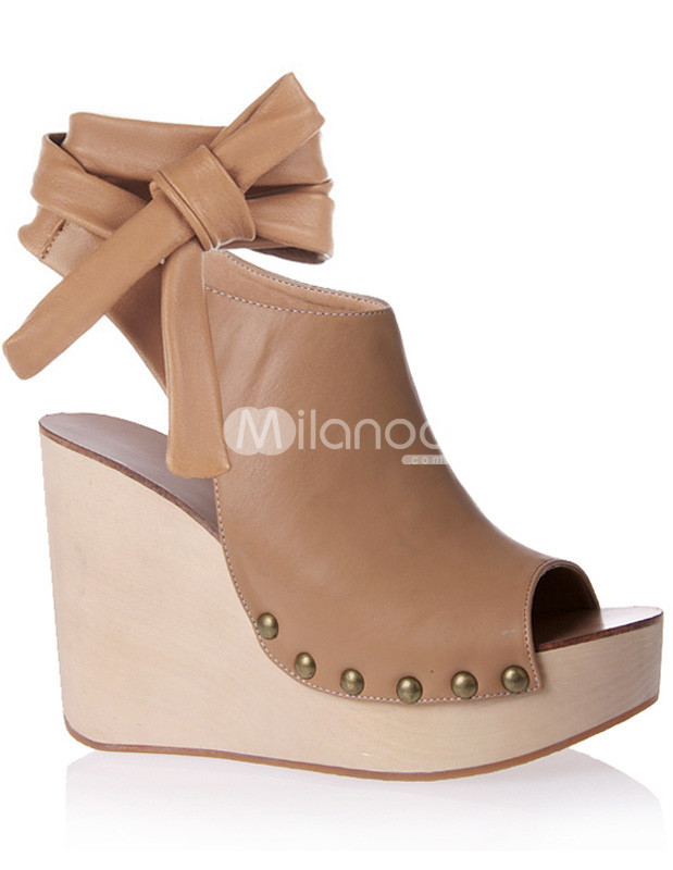 Ankle Strap Rivet Sexy Open Toe PU Womens Wedge Shoes