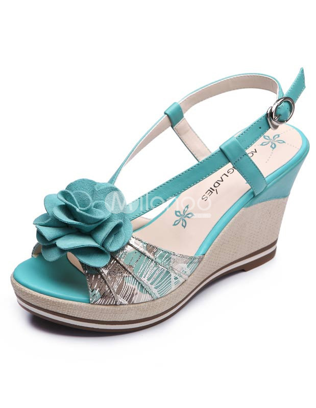 Flower Buckle Sling Back Cowhide Womens Wedge Sandals