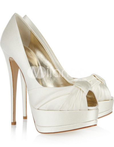 White Sexy Pleated Peep Toe Satin Womens Pumps