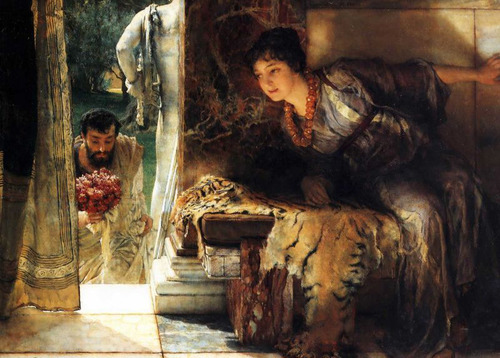 Sir Lawrence Alma-Tadema Welcome Footsteps 1883 Private Collection