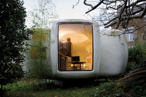 The 'Six-Shell' Bubble — Jean Maneval   Architect, urban designer and theorist, Jean Maneval developed in 1964 a dwelling unit made entirely of synthetic materials. Produced industrially and commercialized in series in 1968, it was part of the program to equip an experimental vacation center in the Pyrenean Mountains. Each living unit (6 shells) was easily transported by truck. The prefabricated shells were made of reinforced polyester insulated with polyurethane foam in three colour-versions: white, green, and brown. The bubble blended 'perfectly' into the landscape. Production ended in 1970 and only about 30 were ever made.
