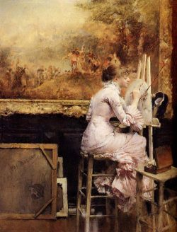 Pascal-Adolphe-Jean Dagnan-Bouveret (1852-1929)Young Watercolourist In The LouvreOil on canvas1891Private collection