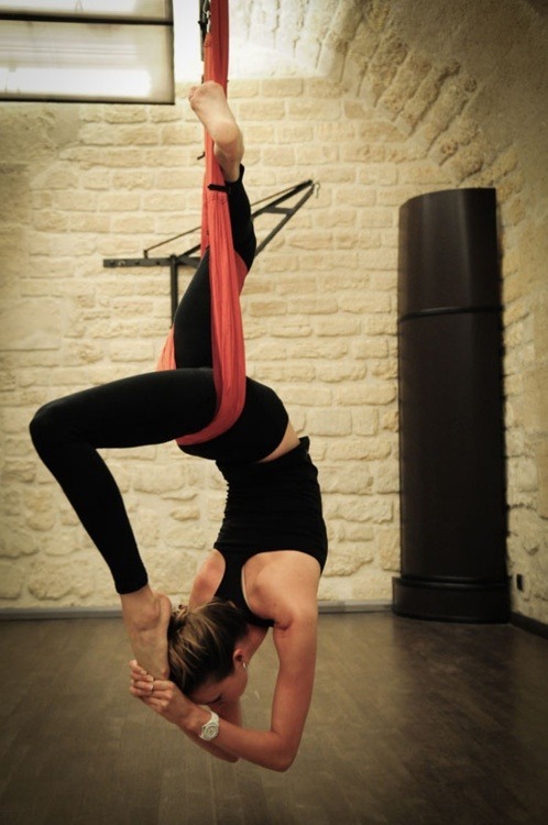 wickedfittothemax:  fuckyeahyoga:  Aerial Yoga   This is amazing. I want aerial in my studio someday