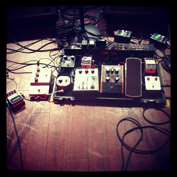 I wish I was standing next to these pedals right now instead of sitting where I'm at. somevelvet:  War On Drugs are ready for take off @wxpnfm live concert (Taken with instagram)