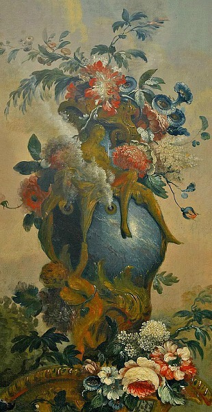 Johan Pasch Still Life with Flowers and Parrot, detail 18th century