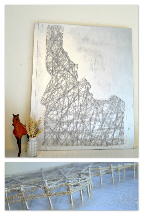 DIY Silver Industrial String Art Tutorial. I love the look of this piece, especially upclose. Easy tutorial from The Thrillz of the Hillz here. *Other string art tutorials (states, heart, words, etct… here: truebluemeandyou.tumblr.com/tagged/string-art
