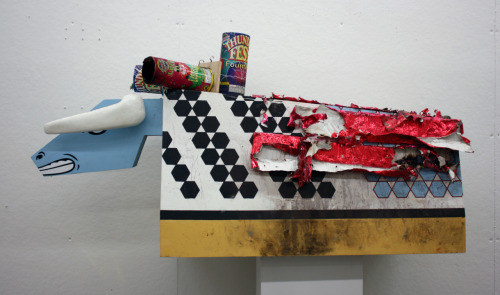 El Toro (Post Performance) Wood, Acrylic, Screenprint, Fireworks
