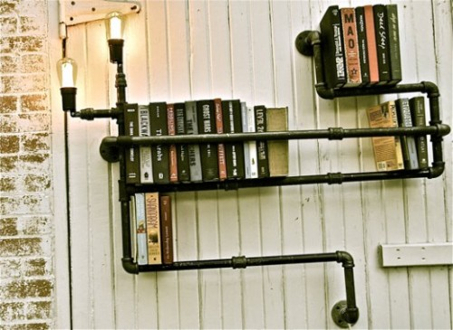 Industrial plumbing bookshelves