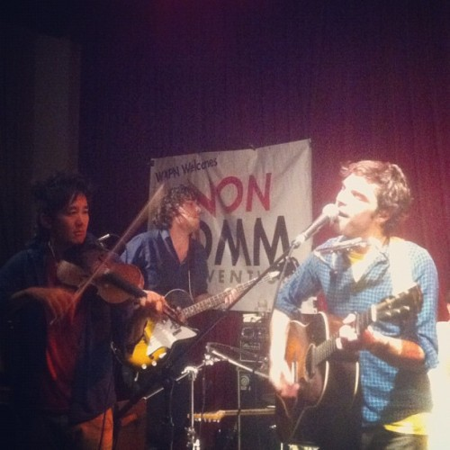 @kishi_bashi on stage w/ @thebarrbrothers @worldcafe @wxpn #noncomm @secretcityrcrds (Taken with instagram)