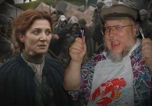 Catelyn Stark side-eyeing GRRM, as he celebrates another successful Stark loss