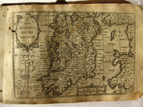 A map of Ireland by John Speed, from a mid 17th century pocket atlas of Great Britain.