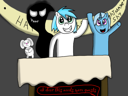 asknightmareshy:  hmm anypony else want in on my party :D http://ask-thefallen.tumblr.com/ http://askfruino.tumblr.com/ ((yes i will draw you and add you into this if you ask me in my ask box or reblog this))  I would love to party with you!