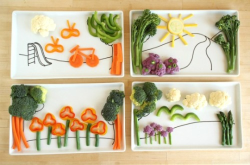 "likelyhealthy:  How do you get kids to eat their veggies? Get 'em to play with their food:  Using large rectangular plates as the canvas, the project calls for using porcelain markers to draw in a simple backdrop. The idea is to let kids ""fill in"" the canvas with healthy foods. It's a creative way to get kids involved in helping to prepare meals and choose healthy food items."