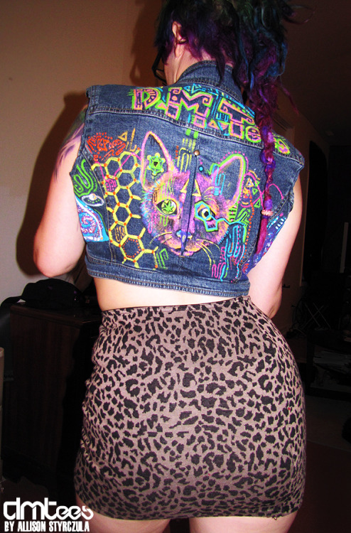 For sale :D DMTee vest. $40, size Small! Custom, handpainted, upcycled fractally rage gear! <3