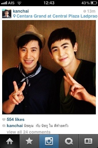 "[PIC] Nichkhun & Num (Thai actor) while shooting TV Program""Tee-tai-krue""  they will be filming at  Khun's house  cr: ammmpe 