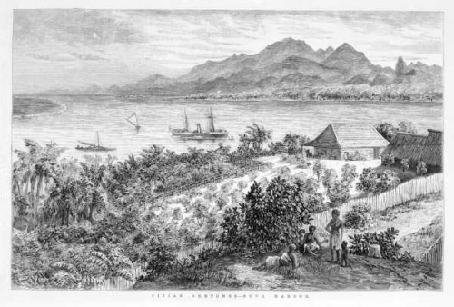 FIJIAN SKETCHES - SUVA HARBOR.  Date(s) of creation: March 20, 1878. print : wood engraving. General view of harbour with Fijians in the foreground, small community, boats in the harbour and mountains in the background.