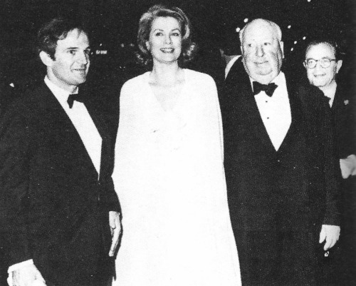 François Truffaut, Grace Kelly and Alfred Hitchcock attending the Film Society of Lincoln Center's fund-raising gala at Avery Fisher Hall in New York. Hitchcock, 74, was guest of honor at the gala, where highlights of his films were shown.