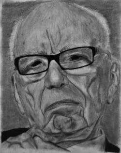 Here is a portrait I drew of Rupert Murdoch with its companion piece, portrait of a baby breast feeding. The Murdoch is done in charcoal, and the baby is done in terracotta conte crayon. Both are 18x24. They are supposed to be looking at each other.