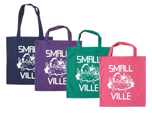 SMALLVILLE RECORD TOTES IN NAVY, PURPLE, GREEN, PINKBEAUTIFUL HAND-DRAWN LOGO BY STEFAN MARX IN STORE NOW!