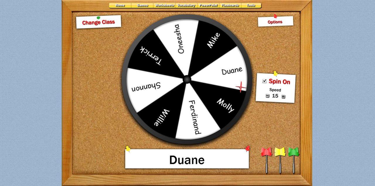Fun! Dartboard Student Selector  Customize for your own class. #elemchat #spedchat #studentselector via Web2 Wonders 100 Classroom Organizing Tricks edshelf Online Timers for the Classroom 20+ Class Tools
