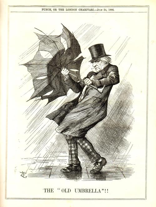 heaveninawildflower:  'The Old Umbrella' ( 1886) an illustration from Punch magazine. I often wonder if J.W. Waterhouse once saw this illustration ( 'Punch' was an incredibly popular magazine) and based the figure in 'Windflowers' upon it. 'Windflowers' dates from 1903.