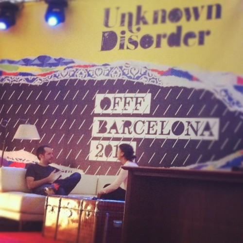 @claudioguglieri of FI relax before the speak at #offfbcn  (Taken with Instagram at Offf2012)