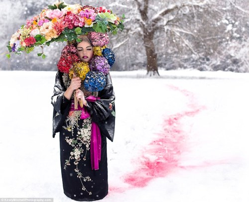 "ornamentedbeing:  ""Spirited Away: Blooms stand out against a snowy forest backdrop - a promise of the spring to come"""