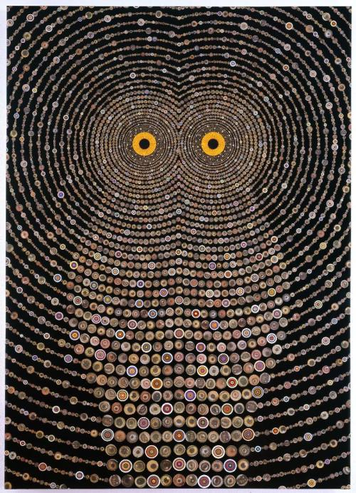 michaelswaney:  Fred Tomaselli, Night Music for Raptors, 2010. Photo collage, acrylic and resin on wood panel, 84 x 60 in. (213.4 x 152.4 cm)