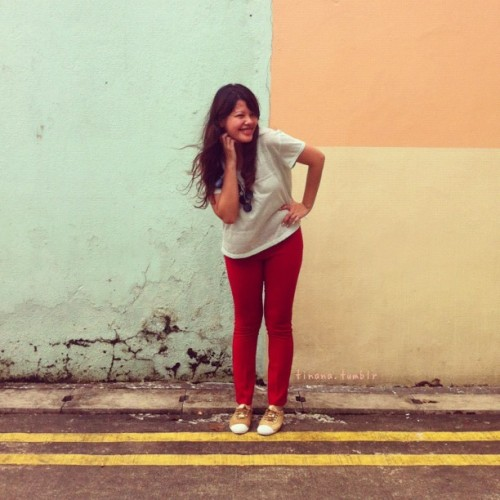 #ootd x #StyleMeMay / colour blocking // In Little India, it's easy to find a wall that matches your outfit.  (Taken with instagram)