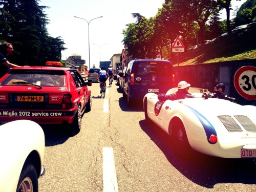 Stuck in the most expensive traffic jam in San Marino.   Miglia 2012 Marino