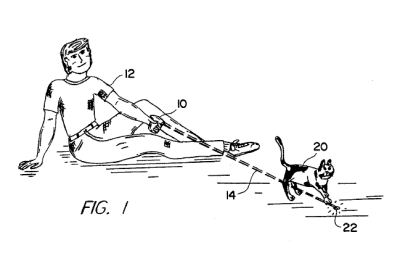 US Patent No. 5,443,036: Method of Exercising a Cat  …consists of directing a beam of invisible light directed by a handheld laser apparatus onto the floor or wall or other opaque surface in the vicinity of the cat, then moving the laser so as to cause a bright pattern of light to move in an irregular way fascinating to cats  via Now I Know related: Big Cats vs. Laser Pointers