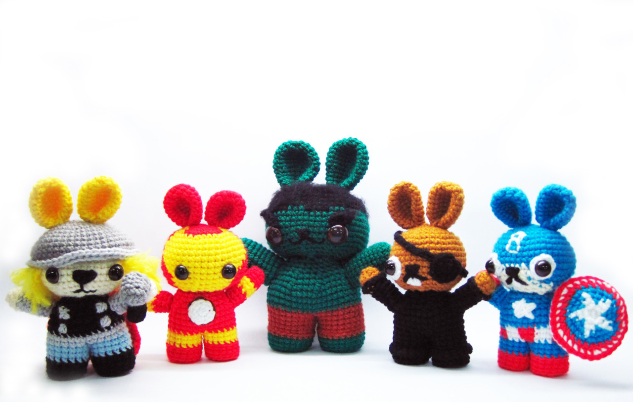 designersof:  the bunnyvengers! since the avengers has been such a great hit, i decided to actually vamp it up a bit and mash it with bunnies! meet, form l-r, thor bunny, iron bunny, the bunny hulk, bunny fury and capt. bunnymerica if you want to get your own, simply check out http://www.craftsy.com/pattern/crocheting/Toy/the-bunnyvengers/15796 here are some other pictures of them too :D   of course, it would be incomplete without this very memorable scene  you can actually also check out my sites for more pictures of them and my other works [http://sweetncutecreations.tumblr.com]