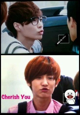 "exokmplanet:  CHU~♥   my two biases are chu-ing~ at each other"""", oh sooo cuteeee, drop dead cutee kkkkk ♥"