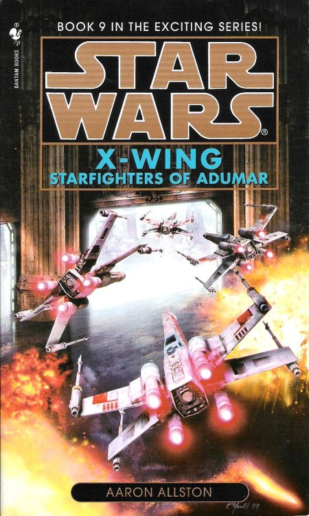 "X-wing: Starfighters of Adumar by Aaron Allston (1999, Bantam) Starfighters of Adumar is the ninth book in the X-wing series, and Aaron Allston's fourth book therein. Unlike his other X-wing novels, this one doesn't chronicle the adventures of Wraith Squadron. In fact, despite its being labeled as the ninth book in a series, it is a stand-alone novel that a reader with little to no knowledge of the expanded universe would have no trouble with. When the planet Adumar is discovered after years of isolation from the galaxy at large, Wedge Antilles, of all people, is sent to oversee the New Republic's diplomatic relations there. The reason for this is that Adumari culture honors starfighter pilots over people of any other profession. Honor, in fact, is very important in Adumari society—after a fashion. The Adumari are fond of dueling to the death, either in aerial dogfights or the through use of rather impractical weapons called ""blastswords,"" in order to accumulate prestige.  Wedge and his companions—Tycho Celchu, Wes Janson, ""Hobbie"" Klivian, and a documentarian named Hallis Saper, who wears a camera-equipped 3PO head on her shoulder—arrive on Adumar without having been briefed on any of this. Furthermore, Adumar is not a planetary government, but is rather comprised of many nations with contentious relationships. To top it all off, four pilots of the 181st Imperial Fighter Wing have already arrived, with aspirations to bring Adumar into what remains of the Empire. As good as the resulting political maneuvering and moral dilemmas are, Starfighters of Adumar is further enhanced by the resolution of long-standing romantic tension between Wedge and New Republic Intelligence agent Iella Wessiri.  Iella first appeared in Michael A. Stackpole's X-wing books, where, after the death of her husband, she and Wedge were established as potential love interests. The way in which Allston deals with Wedge's existing relationship with Death Star scientist Qwi Xux is a little abrupt and smacks of a desire to just get her out of the way, but to be fair, that relationship, as developed in Kevin J. Anderson's Jedi Academy Trilogy, isn't entirely convincing (I was way too kind about it in my previous reviews). Allston does a far better job of writing romance that brings a cheesy grin to my face, rather than, as in the Jedi Academy books, a grimace at the cheesiness. The Wedge/Iella relationship is just one example of Allston's well-developed character dynamics. The friendship, teamwork, and banter of Wedge and his pilots is something at which Allston has always excelled. His use of dry humor throughout this book elicited many a smirk and chuckle from me. Strong character work, dialogue, and plotting, as well as a massive air/space-battle climax, add up to make Starfighters of Adumar a great read. Many other reviews, message board comments, and the like that I've read about this book rate it as the best Star Wars novel. I wouldn't necessarily go that far, but I won't be surprised if, when all is said and done, it makes my top ten."