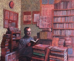 Second-hand bookshop Oil on canvas, 33 x 41 cm