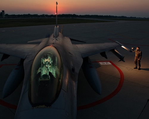F-16 on the Ramp at Sunset by Air Guard on Flickr.