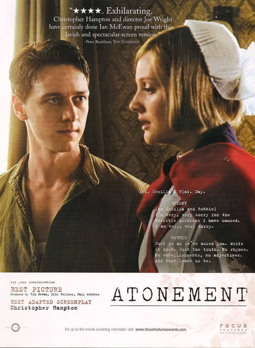sigma-chan:  Poster of Atonement with James Mcavoy and beautiful Romola Garai. Powerful scene.
