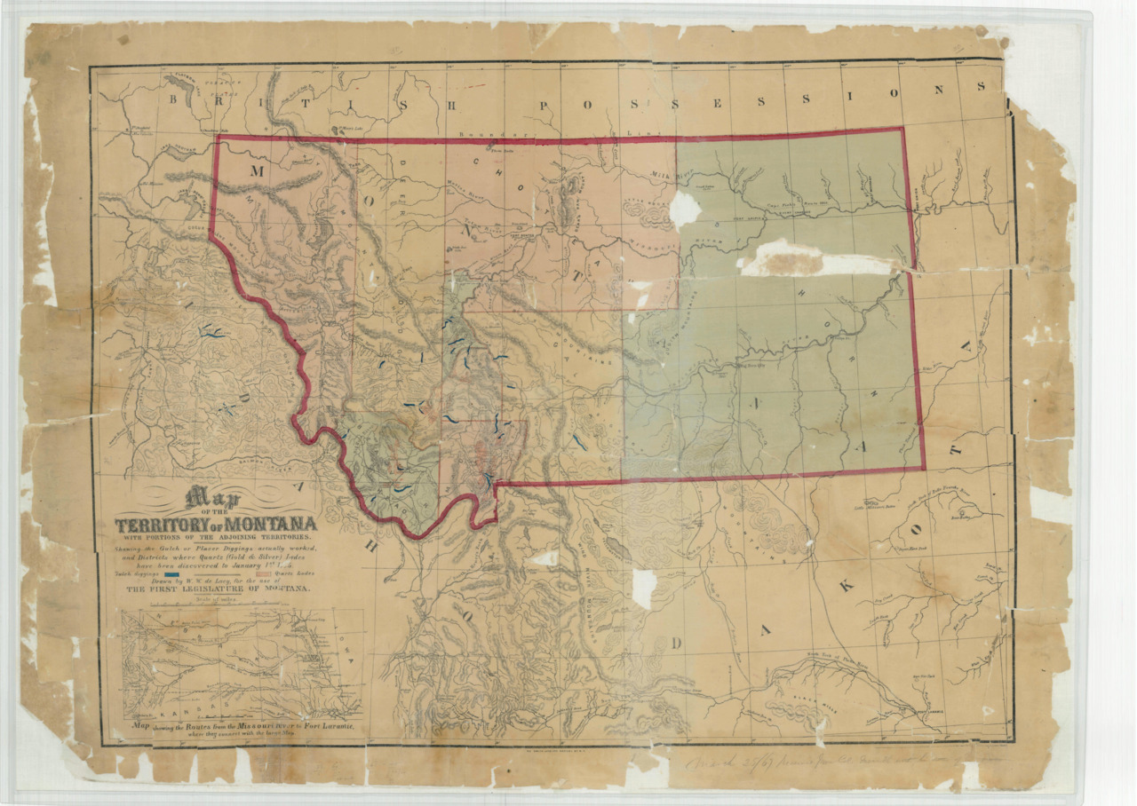 Montana Territory On May 26, 1864, President Abraham Lincoln signed the Act of Congress creating Montana Territory.  Montana remained a territory until it became a state on November 8, 1889.   Map of the Territory of Montana with Portions of the Adjoining Territories, ca. 1865