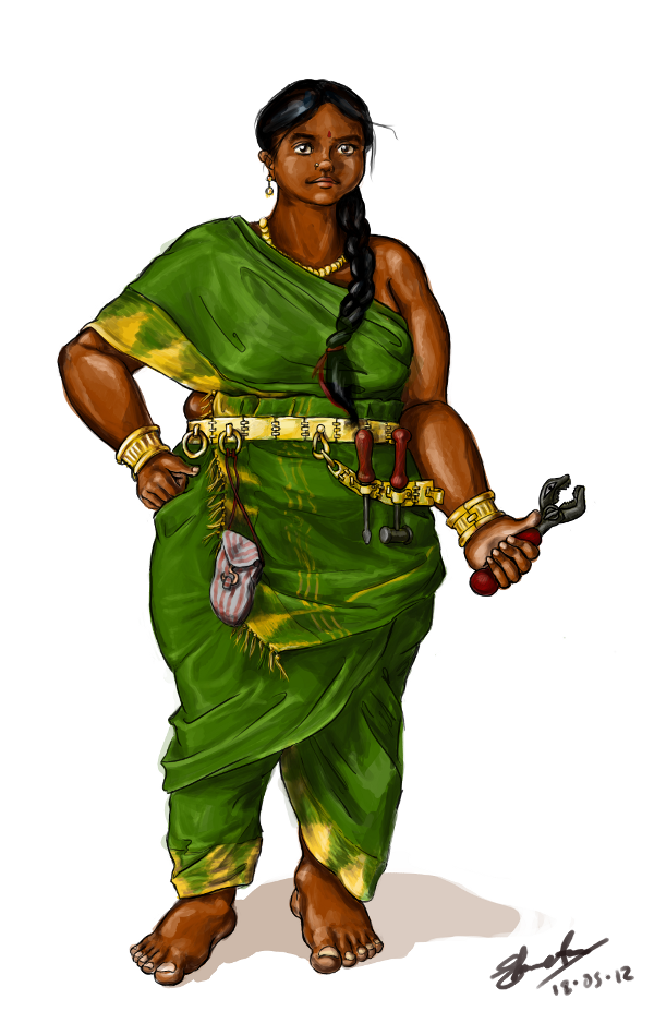 "jhameia:  shwetanarayan:  And done!So this is my attempt at a steampunk Indian character.  I was irritated into it by bad depictions of Western-aesthetic-pretty Indian Girlies in fake saris. Her hair is partly ""inspired"" by the Indian-rapunzels, because like Battameez, I cannot imagine an Indian woman with that much hair left unbraided.  I've tentatively named her Amrita Bai, but that's probably not period-accurate so it's subject to change as I do more research.  Her family's from Tamilnadu, & are Vishwakarma caste (specifically metalsmiths, I assume), but they moved to one of the forts under Shivaji's control, and she's training under a mechanical artificer there.  — All subject to change as I do more research.  (Plz do tell me if this is faily somehow…) Real saris are hard.  And group-specific; this is a Tamil-brahmin 9-yard sari, and probably not quite period accurate but I'm not sure how it'd be different.  No blouse, because this is from my no-British-Raj alternate India. I haven't actually worn a 9-yard sari myself, so I'm not at all sure I have the folds right on this one.  But I did get input from my mother, who has.  Anyway ya know what's not hard?  Making her skin dark.  I find that dark skin is so much easier to get looking human rather than zombie than pale skin is, so extra wtf to those whitewashers who say it's haaaard. And now I run off to the doctor.  reblogged it before, but always worth reblogging steampunk POC characters who lack Victoriana"