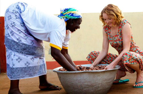 Beauty with heart in action # 2 Lily Cole saw that making shea butter by hand is hard work. The fruits are handpicked, boiled and dried in the sun and their kernels extracted.  More photos coming soon.