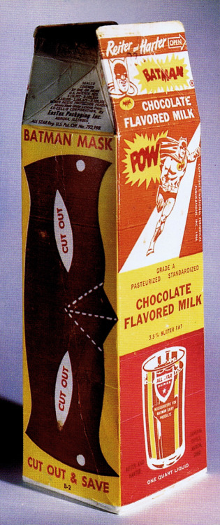 heyoscarwilde:  Got Milk? Batman chocolate milk circa 1966 :: scanned from Chip Kidd's Batman Collected :: Little, Brown & Company :: 1996