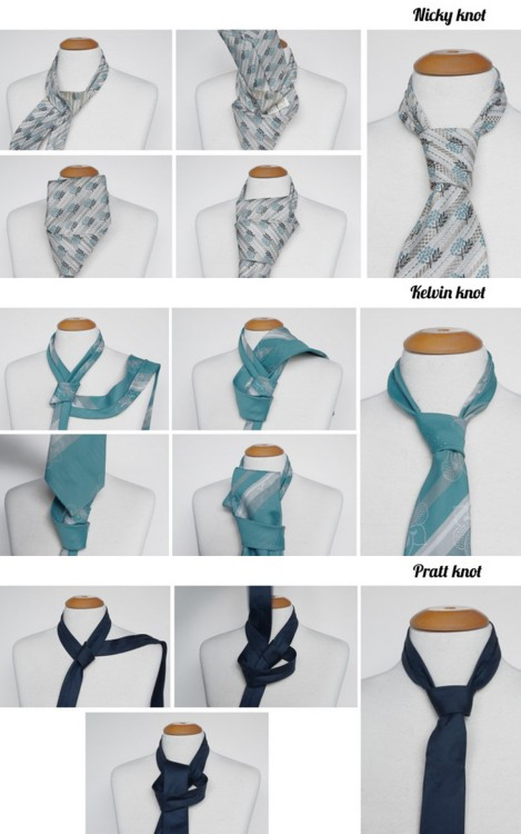 DIY Thirteen Ways to Tie a Tie Tutorial. This is so useful - large step by step photos of thirteen different way to knot a tie. Tutorials from FaSHionRoLLa here.