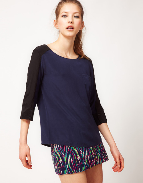 BA&SH Contrast Sleeve Pocket Shell Top in SilkMore photos & another fashion brands: bit.ly/JloDg7