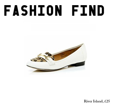 'Fashion Find'- River Island's Leopard Print Loafers A good few years ago I bought myself a white pair of brogues in Topshop, and to cut a long story short they were an amazing hunk of a shoe and one of my favourite pairs, ever. They're so versatile, and they practically go with everything within the Laura-drobe. Unfortunately they're starting to look past their best now, so over the last few weeks I've been trying to find a worthy substitute and this is where these beauties come in! Forgive my enthusiasm, but when I saw these little loafers on River Island's online store earlier today, I was smitten! Print's are big news this year, and when's white not 'in' over the Summer months? Really, these shoes are perfect. Let's hope we get some good weather over the next few weeks- I want to go out and restock my summer wear (and buy a new pair of white shoes, come to think of it…) To have a closer look at River Island's latest loafers, you can- here.