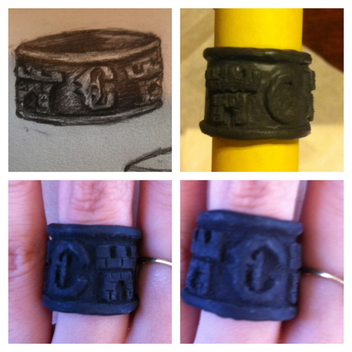 Carstairs Shadowhunter family ring out of polymer clay. Haven't painted it yet (it'll end up a dark silver color, kinda like the seraph blade pendant)   Based on my drawing. Though, that unfired ring in the top right pic got broken so I had to recarve it (last pics)
