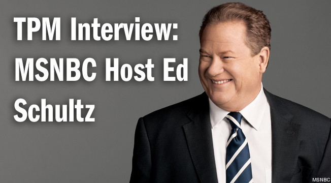 tpmmedia:  Ed Schultz recently entered his fourth year as an anchor for MSNBC. He talked to TPM's David Taintor about why he loves to fish, how he takes his coffee and why he loves being a broadcaster. Read the full interview here. What's the most under-covered story right now? That the wealthy doesn't pay their fair share. I used to be in the middle class, now I'm in the 1 percent. I can't believe the tax cuts that are available. I'm living it. I can tell you that it wouldn't affect me a bit if the rates went to 39 percent. Most of the people in the major media are in the 1 percent. There aren't any poor cable hosts. What are your thoughts on the upcoming recall election in Wisconsin?  Pivotal. This is a template to fight back against Citizens United. It's going to affect the entire country. It's going to give a lot of Americans confidence that money can't buy your vote. If people are informed, and people vote their best interest, they could beat Citizens United. This is the perfect template, it just happens to be Wisconsin. A victory for the people is crucial here. Who's your favorite Fox News host? None of them. I don't find what they say entertaining.