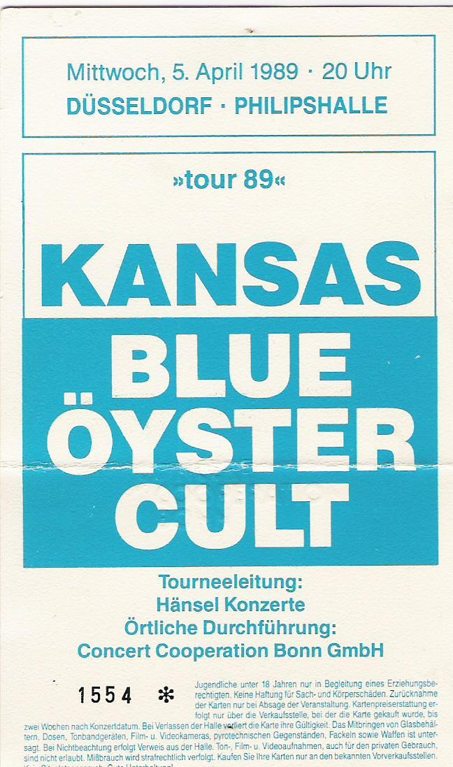 Concert tickets from the past…..double concert by Kansas & Blue Oyster Cult, Dusseldorf, Germany, april 5th 1989