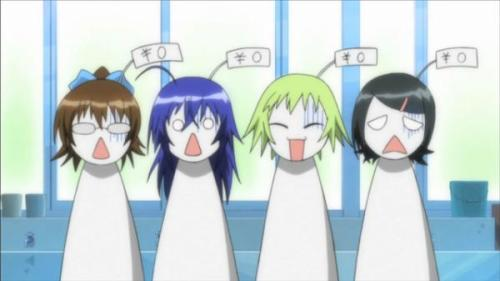 [Four girls stand in a line in various states of shock, each one as a 0¥ price tag attached to her head, picture provided by Avvesione] This, folks, is your beauty myth in action. We're supposed to laugh that these four girls who are star students at an elite academy feel devalued because they are not considered beautiful enough to serve as a motif for their fellow classmate, but it's only kind of funny. Our society spends a good deal of time fixating on the appearance of women regardless of its relevance to their job or life. Just look at the obsession the media has with Michelle Obama's arms. Or Adele's weight. While there is some light humor in the exhibitionist Medaka being demoralized by her failure as a model, it's founded on the nugget of truth that most women and girls remain, throughout their lives, judged on their appearance.