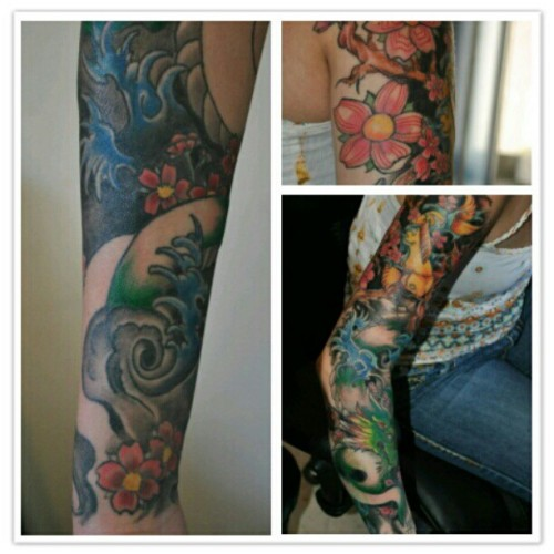 @mommaraydogg 's sleeve #inked #japanese #koi #dragon #sleeve #ink #tattoo #art #freehand  (Taken with instagram)